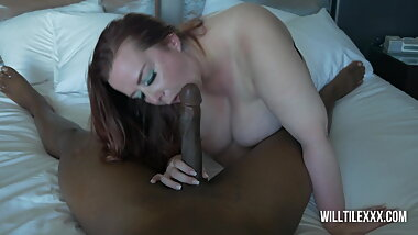 Redhead BBW satisfies a big dick