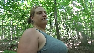 Smoking Showing Off Big Belly in Park with Cumshot on Tongue Frangelica PlanetFunCamp MILF Outdoors